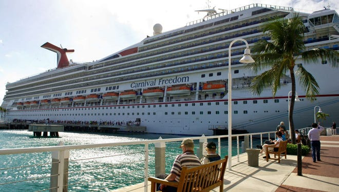 This February 18, 2013 file photo shows the Carnival Freedom viewed in port in Key West, Florida. AFP PHOTO/ Karen BLEIERKAREN BLEIER/AFP/Getty Images