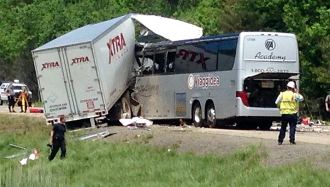 Authorities investigate a fatal collision near Mount Pocono, Pa., on June 3, 2015.