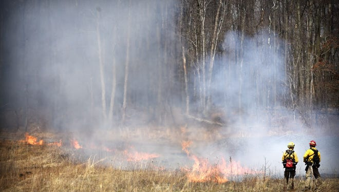 PA Game Commission conducts a prescribed burn at Fort Indiantown Gap in April 2015.