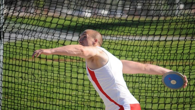 Caleb Bartlett, of Greencastle, throws the discus for Shippensburg University. Bartlett broke the SU record in the hammer throw.