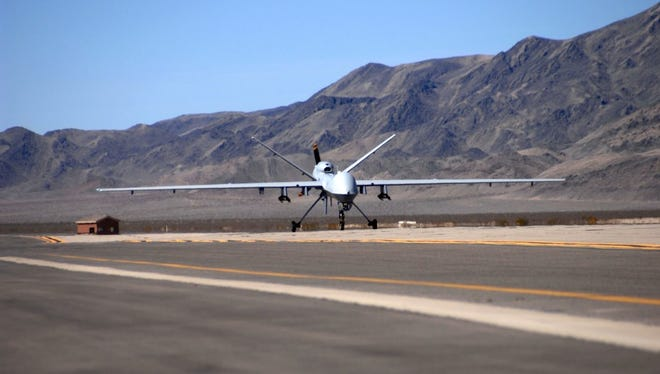 First MQ-9 Reaper taxies at Creech AFB 2007