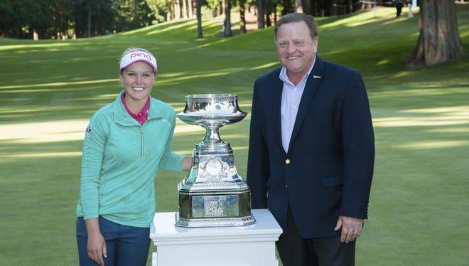 Paul Levy with Women's PGA Championship winner Brooke Henderson