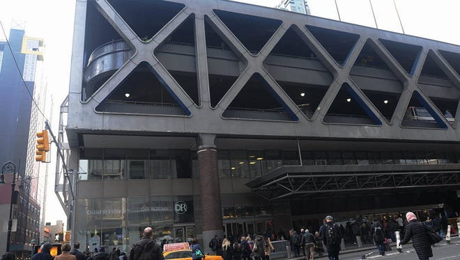 Exterior of the Port Authority bus terminal.