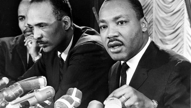 Dr. Martin Luther King Jr., at a news conference in Chicago, Ill., Jan. 7, 1966.