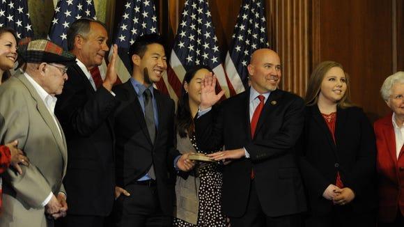 Rep. Tom MacArthur, R-N.J., is sworn in by House Speaker