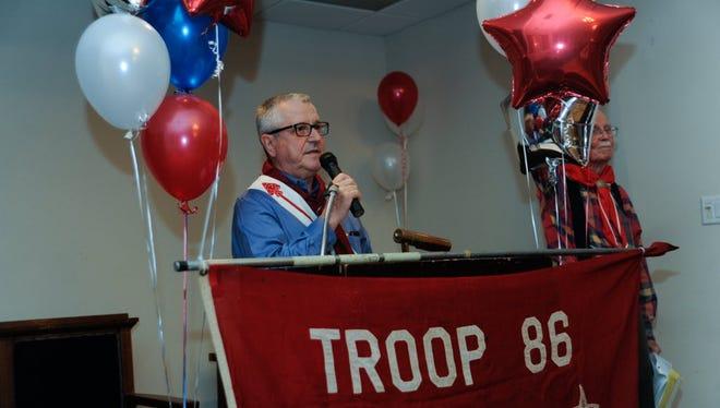 TENAFLY: Michael Cavilla, former scout master, speaking at the dinner. Tenafly Troop 86 held it's centennial alumni dinner at the Tenafly Elks Club on Saturday.