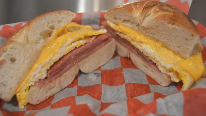 Taylor ham, egg and cheese on a Brooklyn bagel at the Fanwood Grille.