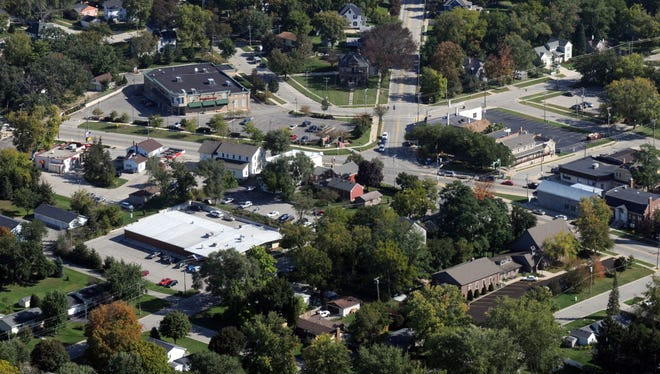 Aerial view of downtown Mukwonago in 2013.