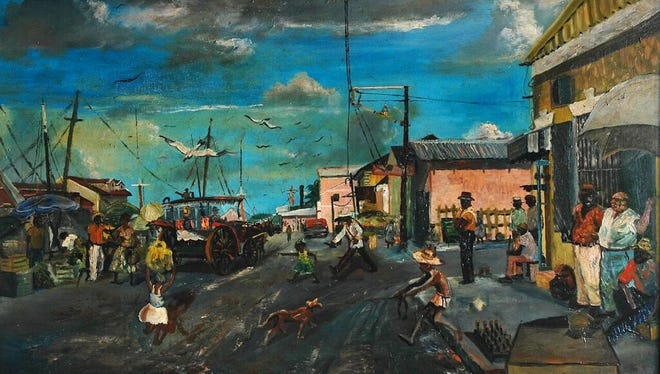 The Market Wharf by Edison Godfrey Rolfe, is part of the exhibit to come to the Elliott Museum, starting Dec. 15.