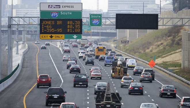 Motorists in Northern Virginia along Interstates 95 and 495 have the option to pay tolls for express lanes, and tolls were added Dec. 4 to high-occupancy vehicle lanes along Interstate 66.