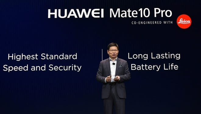 Huawei CEO Richard Yu speaks about the Mate 10 Pro phone during a keynote address during CES 2018 in Las Vegas on January 9, 2018.