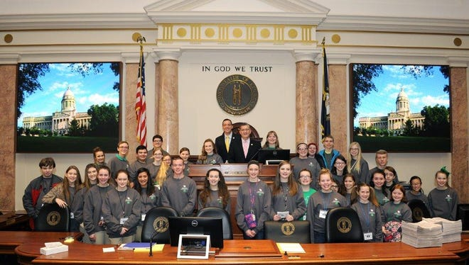 A group of 4-H students from Henderson, Union, Webster and Daviess counties visited with Kentucky Rep. Robby Mills recently and he gave them a tour of the House chambers in Frankfort.