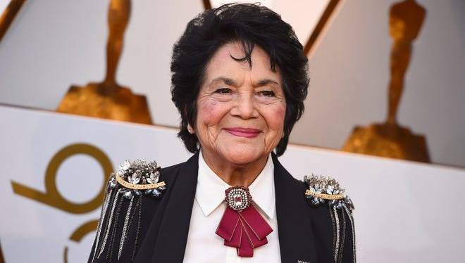 Dolores Huerta arrives at the Oscars on Sunday, March 4, 2018, at the Dolby Theatre in Los Angeles.