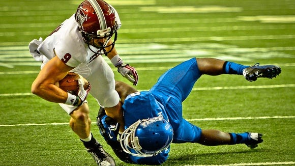 Former Troy receiver Wilson Van Hooser is in the Fall Experimental Football League after being in an NFL training camp with the New England Patriots.