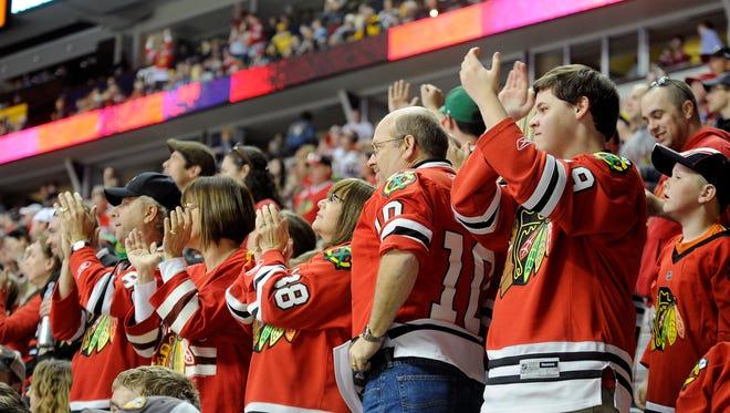 Chicago Blackhawks fans at Bridgestone Arena.