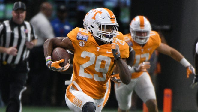 Tennessee defensive back Evan Berry (29) run during first half action at the Chick-fil-A Kickoff Game Monday, Sep. 4, 2017 against Georgia Tech in Atlanta, Ga.