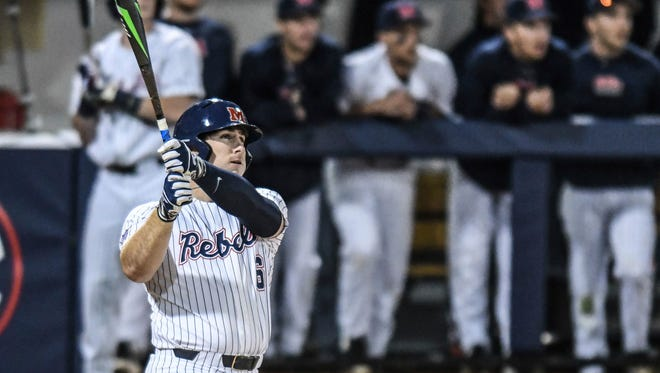 Thomas Dillard, pictured in this file photo, went 2-for-2 with four RBIs in Ole Miss' 12-0 win over Memphis Wednesday night.