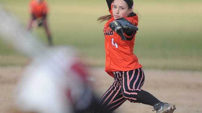 Oakfield's McKaela Ryan winds up for a pitch in the Oaks' game against Cambria-Friesland Friday evening in Oakfield.