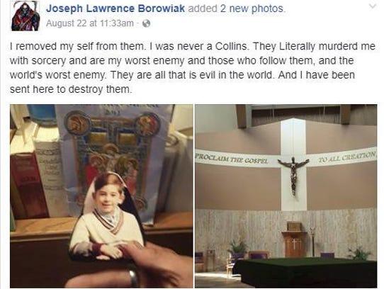 Borowiak's Facebook post from August 22, 2017