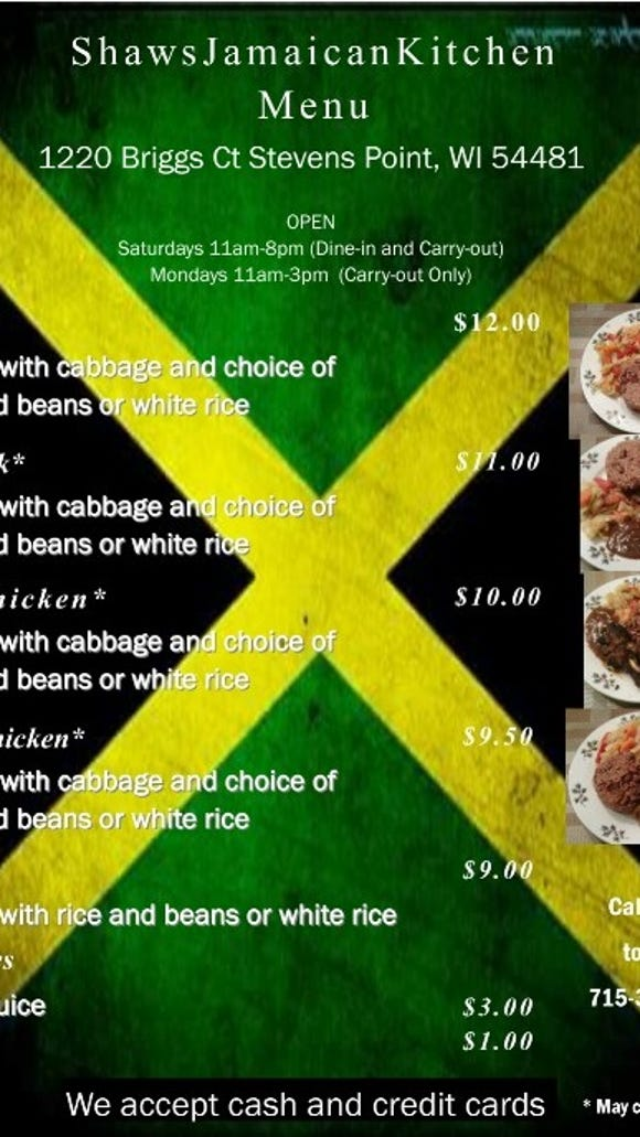 The menu for Shaw's Jamaican Kitchen in Stevens Point.