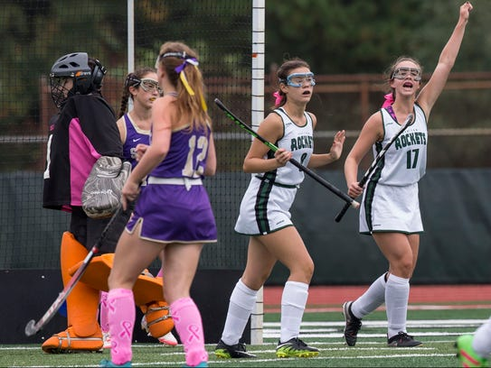 Raritan's Taylor Calicari (8) and Megan Meehan (17)