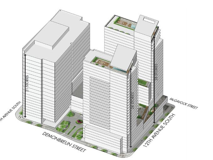 A conceptual massing showing the three towers planned