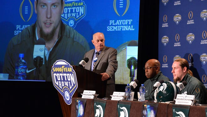 Riley Bullough, right, answers questions during a press conference on Sunday at the Cotton Bowl.