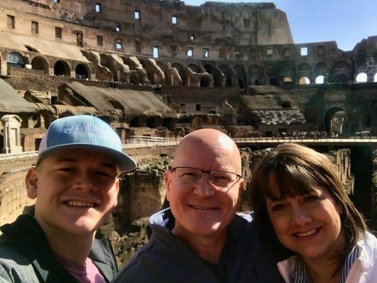 Hayden, Derek and Lex Hood visit the Colosseum in Rome.