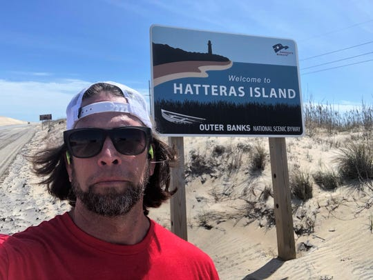 Kenny Capps stops for a selfie just outside of Hatteras Island before continuing on his 1,175-mile run.