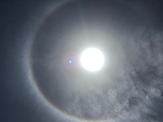 A sun halo also appeared Sunday, June 10, 2018, in Corpus Christi, Texas.