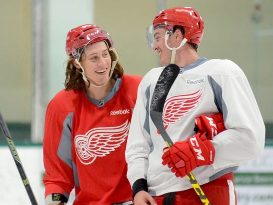 The Wings drafted Zach  Nastasiuk  (right) ahead of Tyler Bertuzzi, but Bertuzzi has leapt up the depth chart.