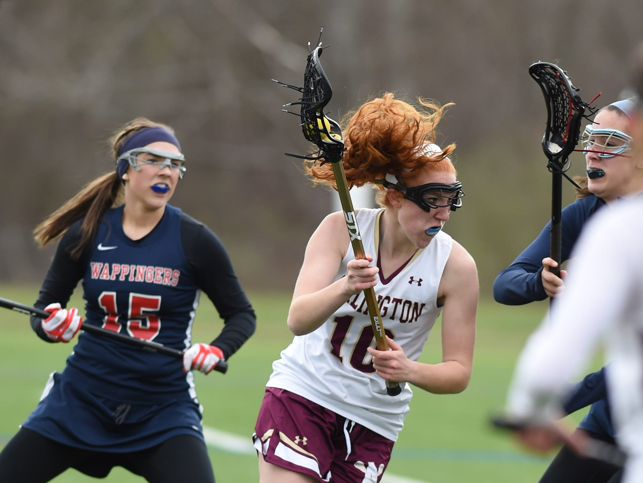 Arlington's Abby Carlin moments before scoring the third goal in Friday's game versus Wappingers at Arlington High School.