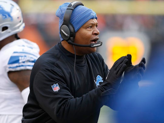Lions coach Jim Caldwell reacts during the first half