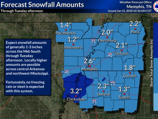 A snowfall forecast issued by the National Weather