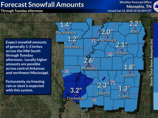 A snowfall forecast issued by the National Weather Service on Monday morning.