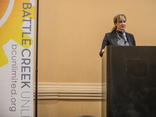 Battle Creek President & CEO Marie Briganti at Thursday's