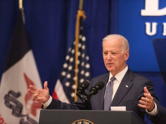 Vice President Biden speaks on Feb. 12, 2015, at Drake