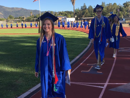 Haley Moore and other seniors at Nordhoff High School