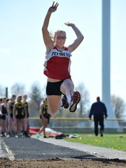 Plymouth's Dora Laser competes in the long jump Friday