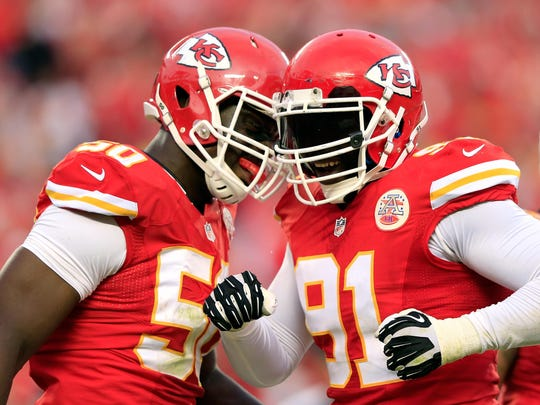 Outside linebackers Tamba Hali (91) and Justin Houston (50) lead a Chiefs defense that has allowed just 13 rushing touchdowns since 2013.