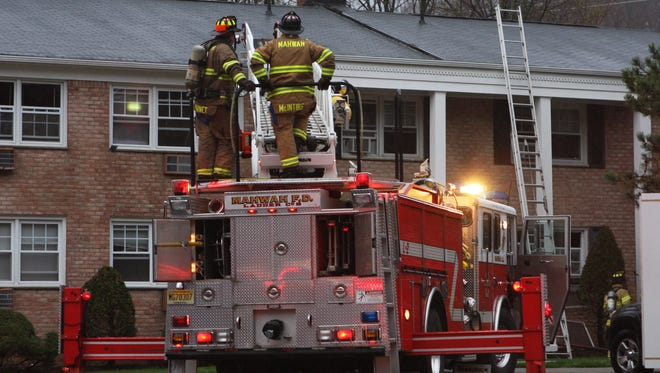 Firefighters respond to a fire at 107 Stewart Circle in Suffern on Tuesday.