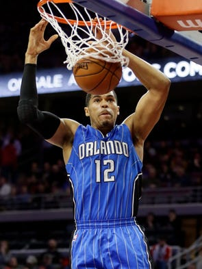 Orlando Magic forward Tobias Harris dunks during the