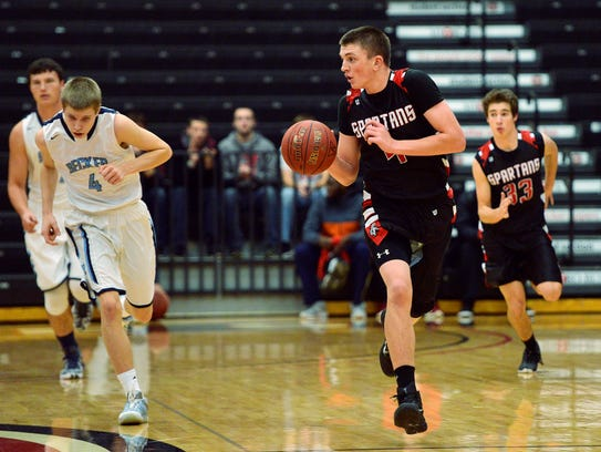 Rocori's Connor Schoborg (4) breaks away with the ball
