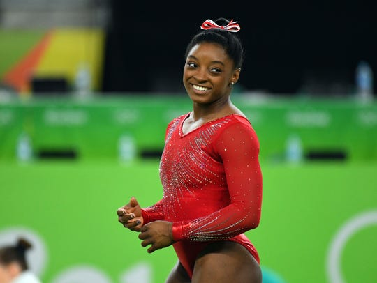 Simone Biles, shown here during the Rio Olympics in