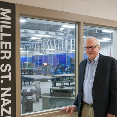 John C. Miller poses inside the Kohler Center for Manufacturing Excellence at Lakeshore Technical College earlier this month. Miller recently won the Technical Education Champion Award, which is an annual award given to supporters of the state's technical college system.