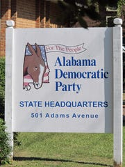 The sign in front of the Alabama Democratic Party headquarters in Montgomery features the donkey symbol.