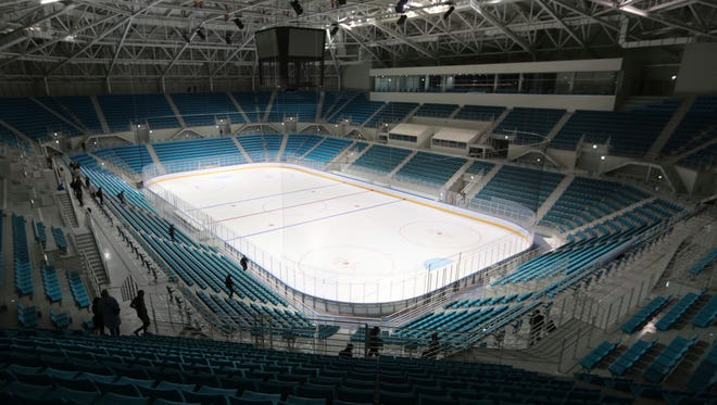 The Gangneung Hockey Center at Gangneung Olympic Park in Gangneung, South Korea.