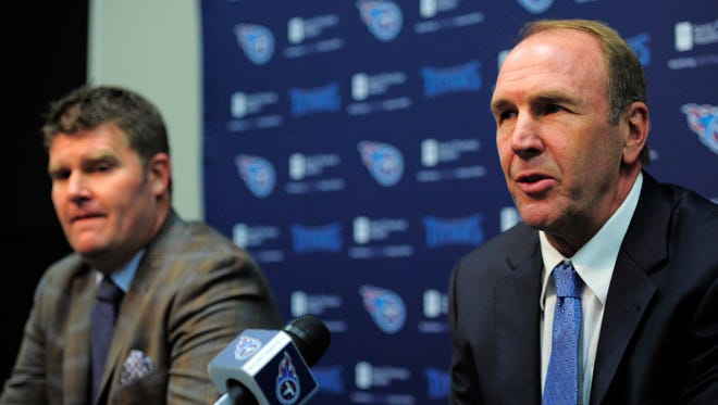 Titans head coach Mike Mularkey (rt) and general manager Jon Robinson answer questions about their second round picks in the 2016 NFL draft at St. Thomas Sports Park Friday April 29, 2016, in Nashville, Tenn.