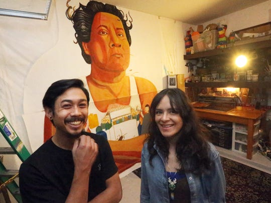 Artists Ramon Cardenas, left, and Christian Cardenas
