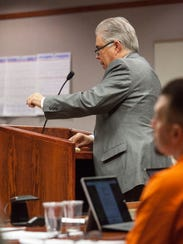 Defense attorney Douglas Terry questions a witness